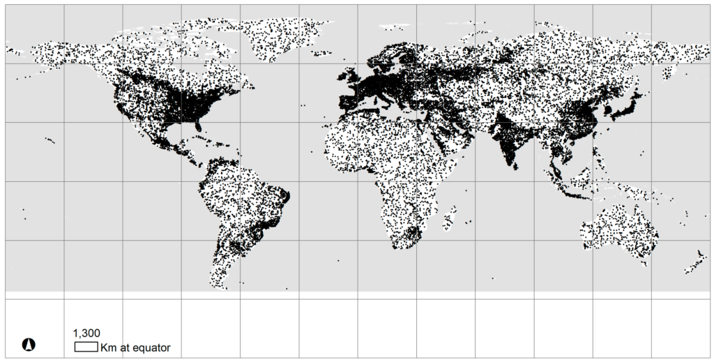 "A sample design of the Global Grid for land use/cover, stratified on an urban to rural gradient generated from ""nightlights"" imagery from 2013"